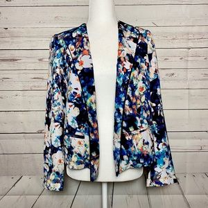 Worthington Blue Floral Open Front Blazer Small